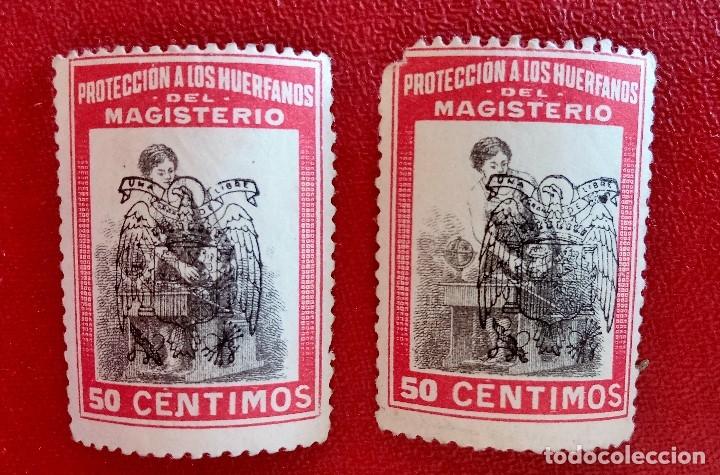 PAREJA DE VIÑETAS PROTECCION A LOS HUERFANOS DEL MAGISTERIO. 50 CENT ROJO. SOBRECARGADO CON AGUILA (Sellos - España - Guerra Civil - Viñetas - Usados)