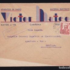 Sellos: *** CARTA CARIÑENA-SEVILLA 1937. CENSURA MILITAR CARIÑENA VIOLETA (NO CATALOGADA) ***. Lote 182965578