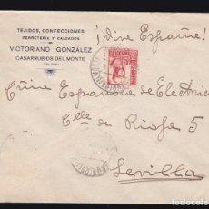 Sellos: * CARTA CASARRUBIOS DEL MONTE (TOLEDO)-SEVILLA 1937. TEJIDOS CONFECCIONADOS, VICTORIANO GONZÁLEZ * . Lote 182971151