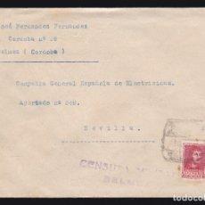 Sellos: *** CARTA BELMEZ (CÓRDOBA)-SEVILLA 1938. CENSURA MILITAR BELMEZ + LOCAL CÓRDOBA ***. Lote 183005530