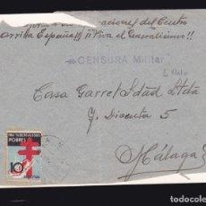 Sellos: *** CARTA LA MATA (TOLEDO)-MÁLAGA 1938. 10 CTS PRO-TUBERCULOSOS + CENSURA MILITAR ¿LA MATA? ***. Lote 183030957