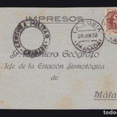 Sellos: *** TARJETA LA ZUBIA (GRANADA)-MÁLAGA 1938. ESTACIÓN SISMOLÓGICA DE MÁLAGA ***. Lote 183200537