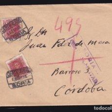 Sellos: *** CARTA CERTIFICADA SORIA-CÓRDOBA 1938. CENSURA MILITAR SORIA + EDIFIL 844 (2) ***. Lote 183202860