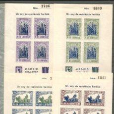 Sellos: L10-3 PI DE LLOBREGAT. DEFENSA DE MADRID - 1936 - 1937 - FESOFI Nº 5-12 SERIE COMPLETA DE 8 HB DEN. Lote 183343600