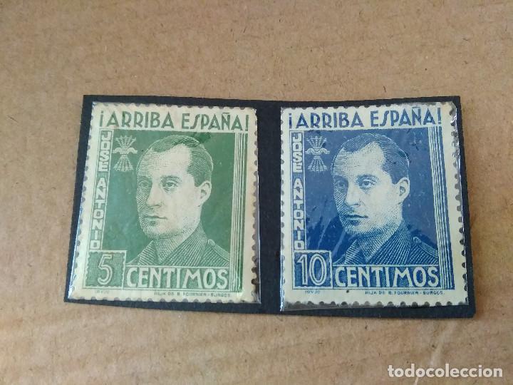 VIÑETAS ( SELLOS ) ~¡ ARRIBA ESPAÑA !~ 5 Y 10 CENTIMOS , FOURNIER ( JOSE ANTONIO ) COLECCION PRIVADA (Sellos - España - Guerra Civil - Viñetas - Usados)