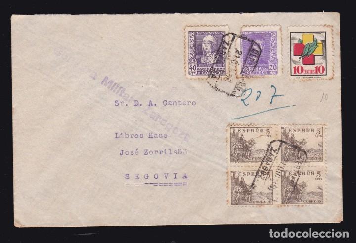 * CARTA CERTIFICADA ZARAGOZA-SEGOVIA 1938. CENSURA MILITAR ZARAGOZA + VIÑETA FRENTES Y HOSPITALES * (Sellos - España - Guerra Civil - De 1.936 a 1.939 - Cartas)