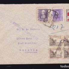 Sellos: * CARTA CERTIFICADA ZARAGOZA-SEGOVIA 1938. CENSURA MILITAR ZARAGOZA + VIÑETA FRENTES Y HOSPITALES *. Lote 183413012
