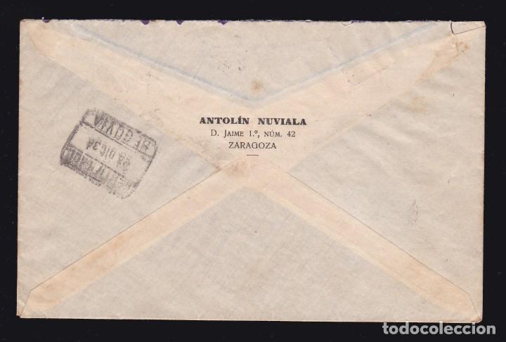 Sellos: * CARTA CERTIFICADA ZARAGOZA-SEGOVIA 1938. CENSURA MILITAR ZARAGOZA + VIÑETA FRENTES Y HOSPITALES * - Foto 2 - 183413012
