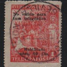 Sellos: HUERFANO DEL CUERPO DE CORREOS, HABITADO 10 CTS SOBRE 1 PTA, DENTADO, VER FOTO. Lote 183473572