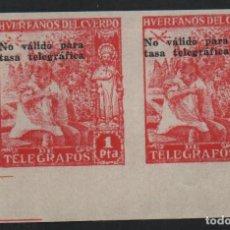 Sellos: HUERFANO DEL CUERPO DE CORREOS,1 PTA, PAREJA SIN DENTAR,NO VALIDO PARA TASAS TELEGRAFICAS, NUEVOS. Lote 183473822