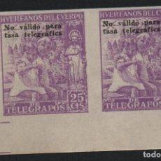 Sellos: HUERFANO DEL CUERPO DE CORREOS,25 CTS, PAREJA SIN DENTAR,NO VALIDO PARA TASAS TELEGRAFICAS, NUEVOS. Lote 183473911