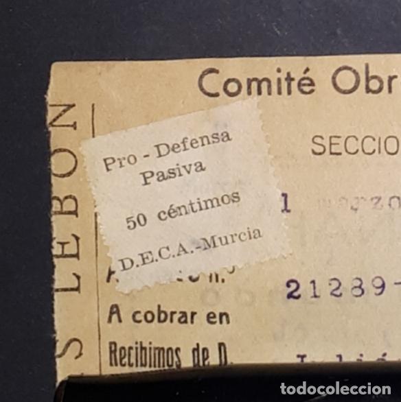 Sellos: PRO-DEFENSA PASIVA D.E.C.A.MURCIA 1937 COMITE OBRERO GAS LEBON - Foto 2 - 183515500