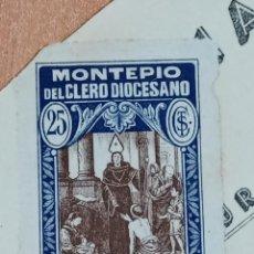 Sellos: SELLO VIÑETA MONTEPIO DEL CLERO DIOCESANO CIUDAD REAL. 25 CENTIMOS. Lote 183547496