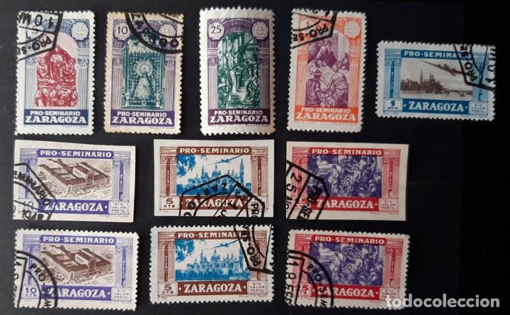 11 SELLOS PRO SEMINARIO DE ZARAGOZA DENTADOS Y SIN DENTAR, UNO NUEVO (Sellos - España - Guerra Civil - De 1.936 a 1.939 - Usados)