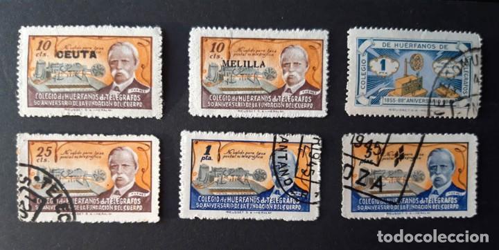 6 SELLOS HUÉRFANOS DE TELÉGRAFOS, 2 SOBRECARGADO CEUTA Y MELILLA (Sellos - España - Guerra Civil - De 1.936 a 1.939 - Usados)