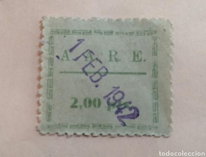 A. A. R. E., CUOTA 2 PESETAS 1942 (Sellos - España - Guerra Civil - Beneficencia)