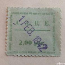 Sellos: A. A. R. E., CUOTA 2 PESETAS 1942. Lote 184243761