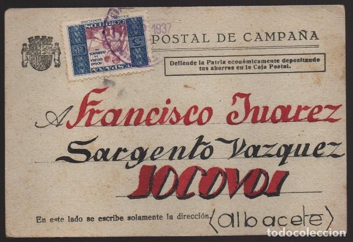 POSTAL DE CAMPAÑA CIRCULADA, --REPUBLICA 1937-- MUY BONITA,- VER FOTOS (Sellos - España - Guerra Civil - De 1.936 a 1.939 - Usados)