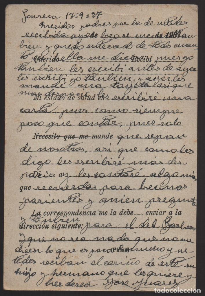 Sellos: POSTAL DE CAMPAÑA CIRCULADA, --REPUBLICA 1937-- MUY BONITA,- VER FOTOS - Foto 2 - 184386147