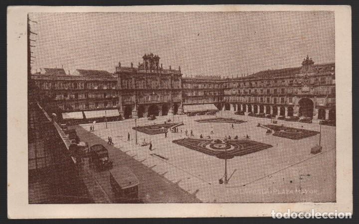 Sellos: SALAMANCA,. PLAZA MAYOR.--C.M. NEGOCIADO DE CENSURA MILITAR-- MUY RARA, VER FOTO - Foto 2 - 184386962