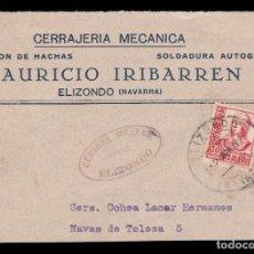 Sellos: *** FRONTAL ELIZONDO (NAVARRA) 1937. CENSURA MILITAR ELIZONDO (RARA) ***. Lote 184575635