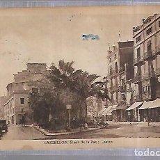 Sellos: TARJETA POSTAL. CASTELLON. PLAZA DE PAZ Y TEATRO. CENSURA GUBERNATIVA DE BARCELONA. Lote 184703345