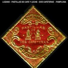 Sellos: VIÑETA / ETIQUETA - LOZANO - PASTILLAS DE CAFE Y LECHE - DOS CAFETERAS - PAMPLONA - REF801. Lote 184762036
