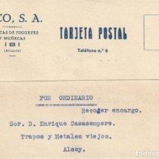 Sellos: TARJETA POSTAL PRIVADA (1936) SIN SELLO POSTAL PERO CON FIRMA DEL CONTROL OBRERO INDUSTRIAL DE U.G.T. Lote 184796813