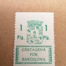 Sellos: CARTAGENA POR BARCELONA. SELLO VOLUNTARIO. 1 PESSETA.. Lote 184839217