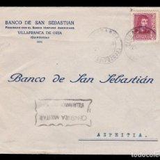 Sellos: *** CARTA VILLAFRANCA DE ORIA-AZPEITIA 1938. CENSURA MILITAR VILLAFRANCA DE ORIA ***. Lote 184928267
