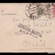 Sellos: *** CARTA LUARCA-MADRID 1939. CENSURA MILITAR LUARCA NEGRO. DELEGADO DEL S.E.U. (MADRID) ***. Lote 218193802