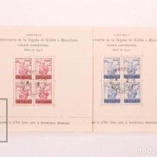 Sellos: HOJAS BLOQUE DENTADAS - 450 ANIVERSARIO LLEGADA COLON A BARCELONA - EDIFIL 51/52 AÑO 1943 - USADO. Lote 185887503