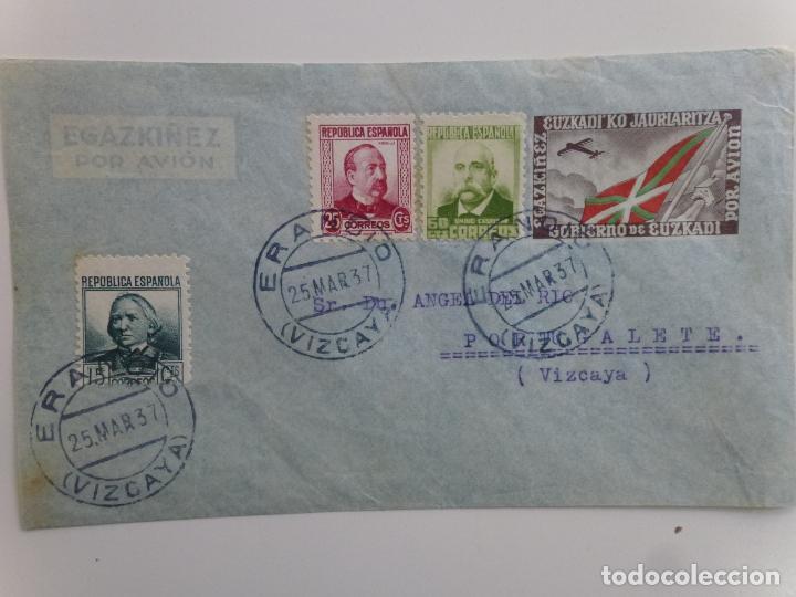 SOBRE CON SELLOS Y MATASELLOS DE LA REPÚBLICA. EUZKADI. ERANDIO Y PORTUGALETE (Sellos - España - Guerra Civil - De 1.936 a 1.939 - Cartas)