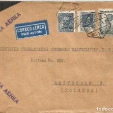 Sellos: VALENCIA GUERRA CIVIL CARTA DE LUTO CORREO AEREO A HOLANDA CON CENSURA. Lote 187316982