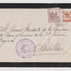 Sellos: SOBRE. CENSURA MILITAR. JEREZ DE LA FRONTERA, CÁDIZ. SELLO LOCAL. DORSO LLEGADA. Lote 187448127