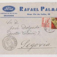 Sellos: SOBRE FORD. GRANADA. SELLO LOCAL Y CENSURA MILITAR. 1937. . Lote 187448436