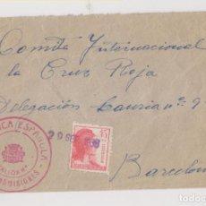 Sellos: SOBRE. BATALLÓN TRANSMISIONES. 1938. A LA CRUZ ROJA DE BARCELONA. . Lote 189173805