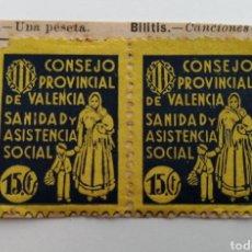 Sellos: VALENCIA. CONSEJO PROVINCIAL. SANIDAD Y ASISTENCIA SOCIAL. PAREJA 2 VIÑETAS 15 CÉNTIMOS. PEGADAS. Lote 189201801