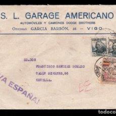 Sellos: ** CARTA VIGO-SEVILLA 1936. CENSURA VIGO, VIÑETA AUXILIO INVIERNO MÁLAGA. GARAGE AMERICANO (VIGO) **. Lote 189321011