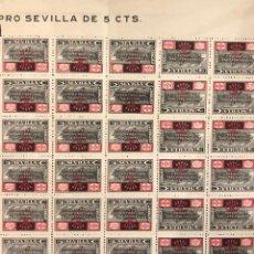 Sellos: SEVILLA, PLIEGO DE 30 SELLOS CREEMOS EN LA SUPREMA REALIDAD DE ESPAÑA, FALANGE. 5 CENTIMOS. Lote 189625595