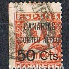 Sellos: CANARIAS EDIFIL Nº 23, SOBRECARGADO CANARIAS 50 CTS CORREO AEREO, USADO. Lote 189632420