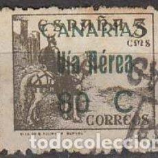 Sellos: CANARIAS EDIFIL Nº 45, SOBRECARGA: VIA AEREA 80 C, USADO. Lote 189632706