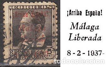 MALAGA EDIFIL Nº 9, SOBRECARGADO ARRIBA ESPAÑA, MÁLAGA LIBERADA 8-2-1937 (VER EN LA IMAGEN) , USADO (Sellos - España - Guerra Civil - De 1.936 a 1.939 - Usados)