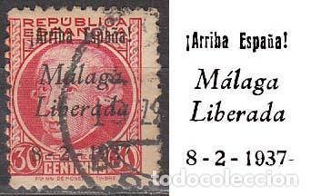 MALAGA EDIFIL Nº 18, SOBRECARGADO: ARRIBA ESPAÑA. MALAGA LIBERADA (VER EN LA IMAGEN), USADO (Sellos - España - Guerra Civil - De 1.936 a 1.939 - Usados)
