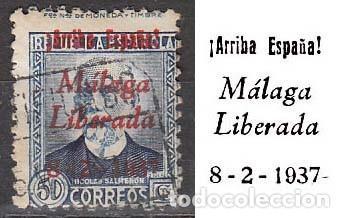 MALAGA EDIFIL Nº 21, SOBRECARGADO: ARRIBA ESPAÑA. MALAGA LIBERADA (VER EN LA IMAGEN), USADO (Sellos - España - Guerra Civil - De 1.936 a 1.939 - Usados)