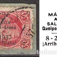 Sellos: MALAGA EDIFIL Nº 30, SOBRECARGADO MALAGA A SU SALVADOR QUEIPO DE LLANO (VER EN LA IMAGEN) USADO. Lote 189639785