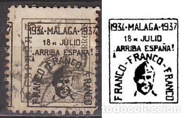 MALAGA EDIFIL Nº 41 HI, SOBRECARGADO EN NEGRO: FRANCO, FRANCO, FRANCO (VER EN LA IMAGEN), USADO (Sellos - España - Guerra Civil - De 1.936 a 1.939 - Usados)