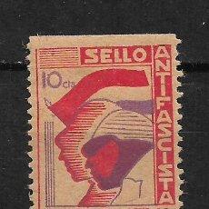 Sellos: ESPAÑA - GUERRA CIVIL - VILLANUEVA ANTIFASCISTA * - 15/10. Lote 190002622