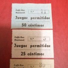 Sellos: CAFÉ BAR NACIONAL. LOTE 3 TICKETS 1 PTA. 50 Y 25 CÉNTIMOS. PARA JUEGOS PERMITIDOS. Lote 190029860