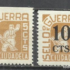 Francobolli: Q539E-SELLOS LOCALES ESPAÑA GUERRA CIVIL SERIE COMPLETA CIUDADELA MENORCA BALEARES,CON HABILITADO.N. Lote 190202783